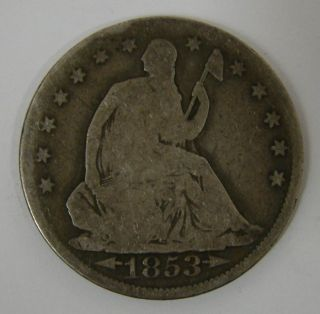 1853 With Arrows & Rays Us Seated Liberty Silver Half Dollar Coin photo