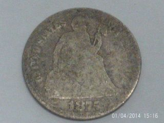 Coinhunters - 1875 Liberty Seated Dime - Good,  G,  90 Silver photo