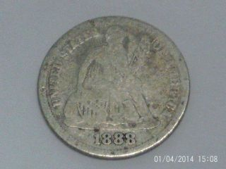 Coinhunters - 1888 Liberty Seated Dime - Good,  G photo