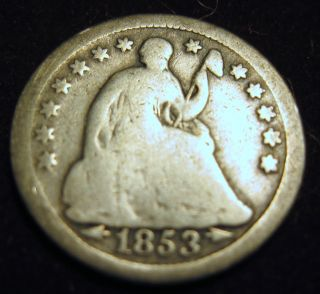 1853 W/arrows Silver Seated Half Dime (1214f) photo