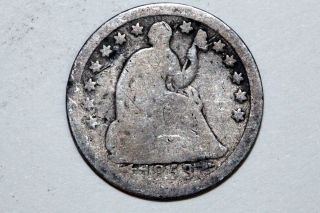 1853 - O Seated Liberty Silver Half 1/2 Dime That Grades About Good (shd498) photo