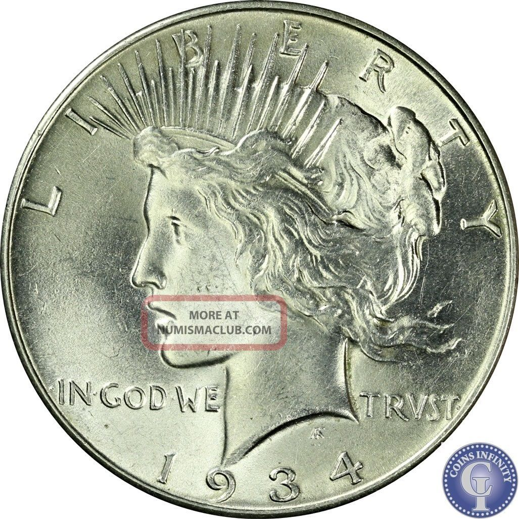1934 P Looks Uncirculated Silver Peace Dollar Scarce Usa