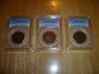 Pcgs 1848 Cent (envdmg),  1851 Cent (cleaned),  & 1854 Cent (rimdmg) - Vf Details photo