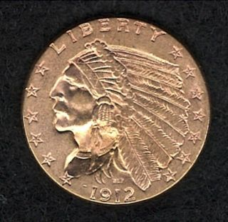 1912 Indian Head $2.  50 Quarter Eagle Gold Piece photo