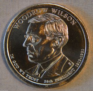 2013 - D Woodrow Wilson Uncirculated Presidential Dollar - Single photo