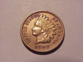 1893 Indian Head Cent Au Details photo