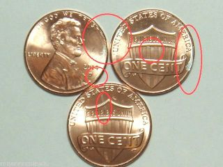 (3) 2014 - D 1c Partial Unplated Error Lincoln Shield Cents Gem Bu photo