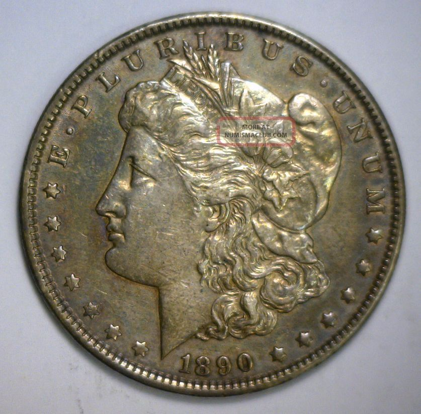 1890 Morgan Silver Dollar Almost Uncirculated Philadelphia Issue Dollars photo