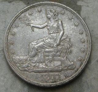 1877 - S Trade Silver Dollar.  Origianl Au/bu photo