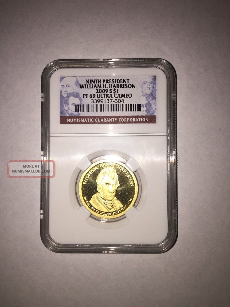 2009 S Proof Ninth President William H.  Harrison $1 Pf 69 Ultra Cameo Ngc Dollars photo
