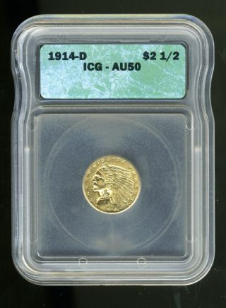 1914 - D Indian Head Quarter Eagle $2.  5 Gold Icg Au50 photo