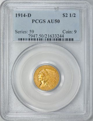1914 - D Indian Head Quarter Eagle $2.  5 Gold Pcgs Au50 photo