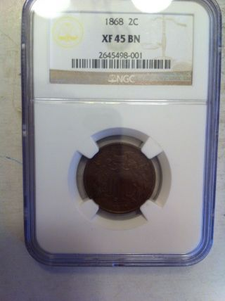 1868 Two Cent Piece - Ngc Certified photo