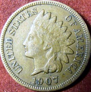 1907 Indian Head Penny Full Liberty photo