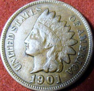 1901 Indian Head Penny Full Liberty photo