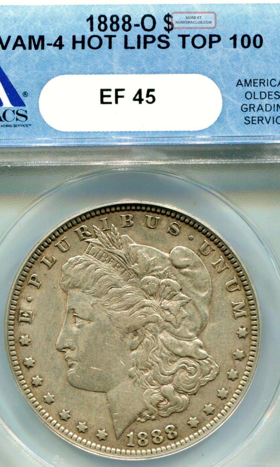 1888 O Hot Lips Morgan Silver Dollar Anacs Xf45 Vam 4
