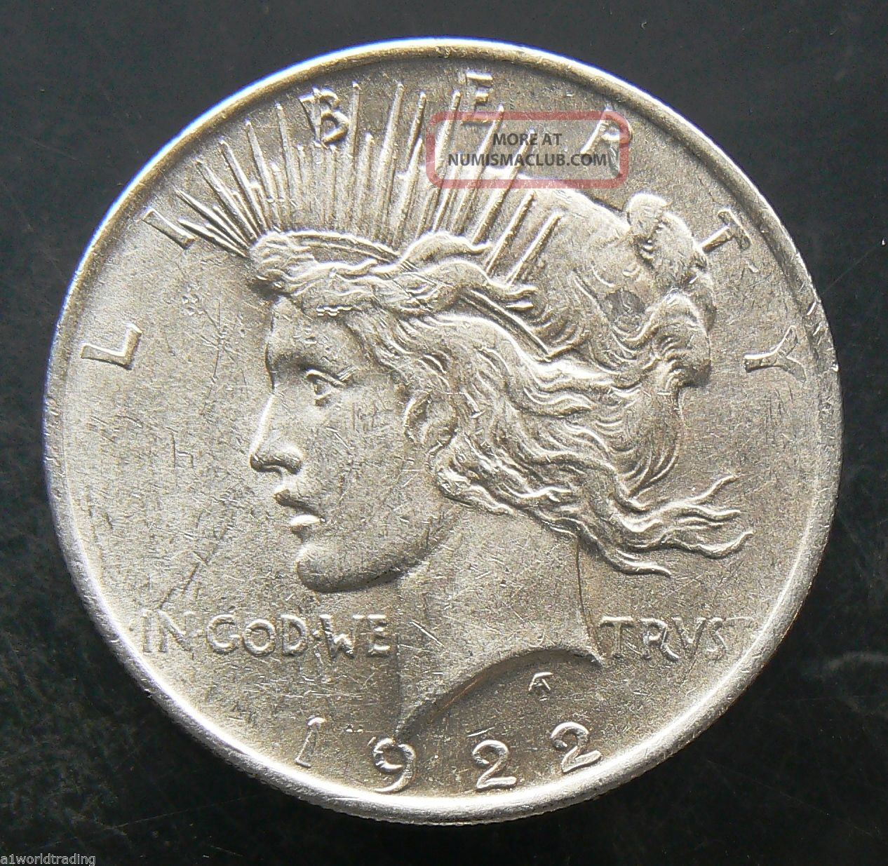 1922 Peace Liberty Silver One Dollar Coin - Luster Cartwheel Dollars photo