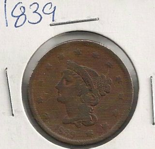 1839 Coronet Head Large Cent : Fine photo
