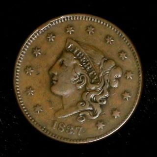 1837 N - 17 Matron Or Young Head Large Cent Coin 1c photo