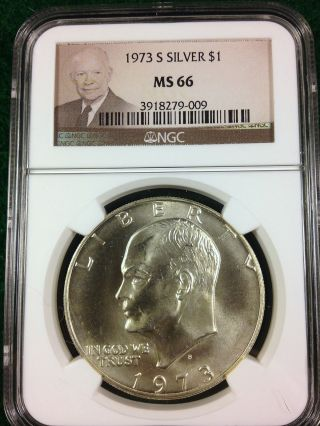 1973 - S Ngc Ms66 Eisenhower Ike Silver Dollar photo