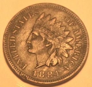 Tough Date 1884 Indian Head Penny In Xf/au. photo