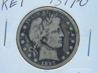 1897 - O Barber Silver Half Dollar Rare Key Date Partial Liberty Corroded photo