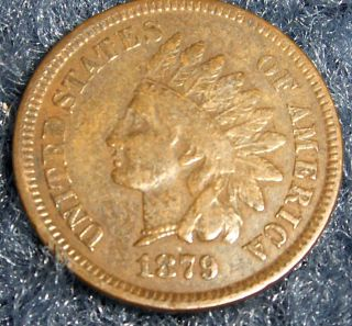 Semi - Key Date 1879 Indian Head Cent F,  Details No Junk Drawer, photo