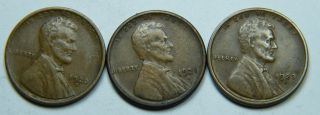 3 S Lincoln Cents 1920,  1921,  1923 All Vf photo