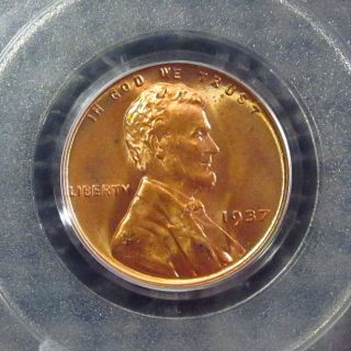 1937 - Lincoln Cent Pcgs Certified Ms - 66 Red Omaha 03644259 G photo