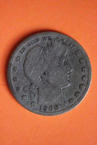 1908 - D Barber Half Dollar Fast 90 Silver Us Bullion Coin 23 photo