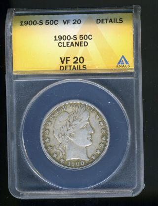 1900 - S Barber Half Dollar Anacs Vf20 Details Cleaned photo