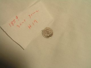 185? 3 - Cent Treme,  90 Silver,  Circulated photo