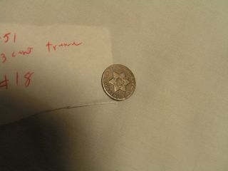 1851 90 Silver 3 - Cent Treme In Circulated Condtion photo
