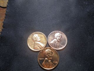 1961,  1962,  1963 Red Proof Lincoln Memorial Cent.  Very Sharp 123p photo