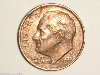 1996 - P 10c Copperwashed Roosevelt Dime Error photo