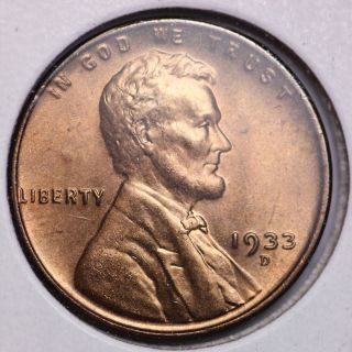 1933 - D Lincoln Wheat Small Cent Choice Bu photo