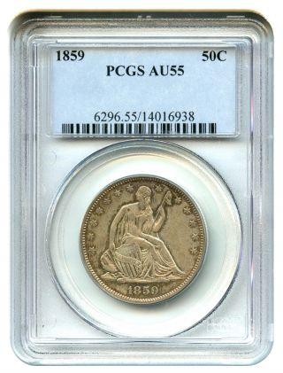 1859 50c Pcgs Au55 Liberty Seated Half Dollar photo