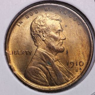 1910 - S Lincoln Wheat Small Cent Choice Bu Red photo