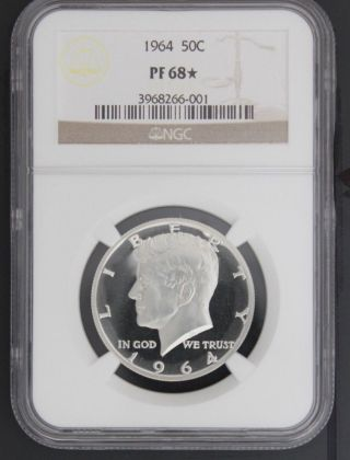 1964 Kennedy Ngc Pf 68 Star.  Intense Snow - White Ultra Cameo Obverse 1 Of 124 photo