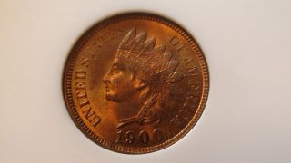 1900 P Indian Head Cent Ngc Ms64 Rd Red Coin 1c Penny photo