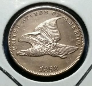 1858 1¢ Flying Eagle One Cent Very Sharp Coin photo