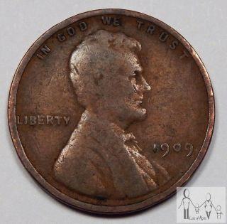 1909 (p) Good Lincoln Wheat Cent Penny 1c Us Coin A2 photo