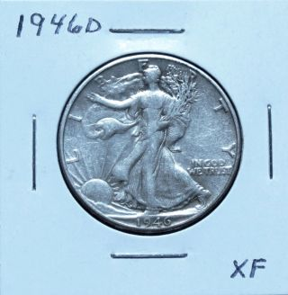 1946d Xf Walking Liberty Half Dollar Problem (n18chm) photo