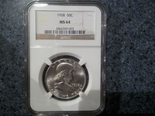 Rare Key Date 90 Silver 1958 - P Blast White Ms64/ngc Graded Franklin Half,  Gem photo