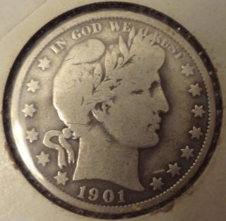 1901 50 Cent Barber Half Dollar photo