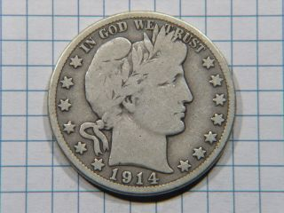 1914 S Silver Barber Half Dollar Grades Very Good Stk Sd380 photo