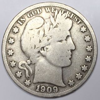 1909 - S 50c Barber Half Dollar  02 photo