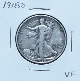 1918d Vf Walking Liberty Half Dollar (n19bjma) photo