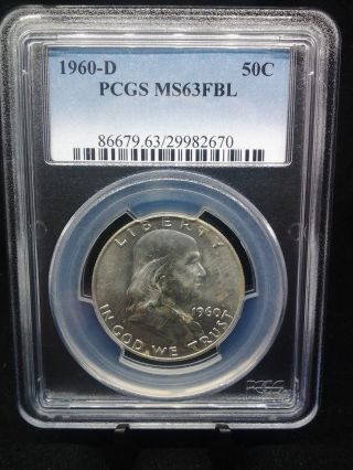 1960 D Franklin Half Dollar Pcgs Certified Ms 63 Fbl (670) photo
