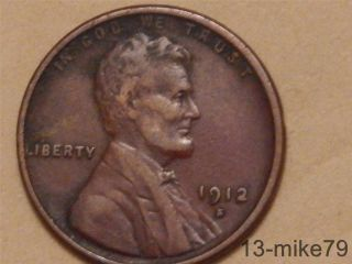 1912 S Lincoln Wheat Ear,  Cent,  Penny. photo